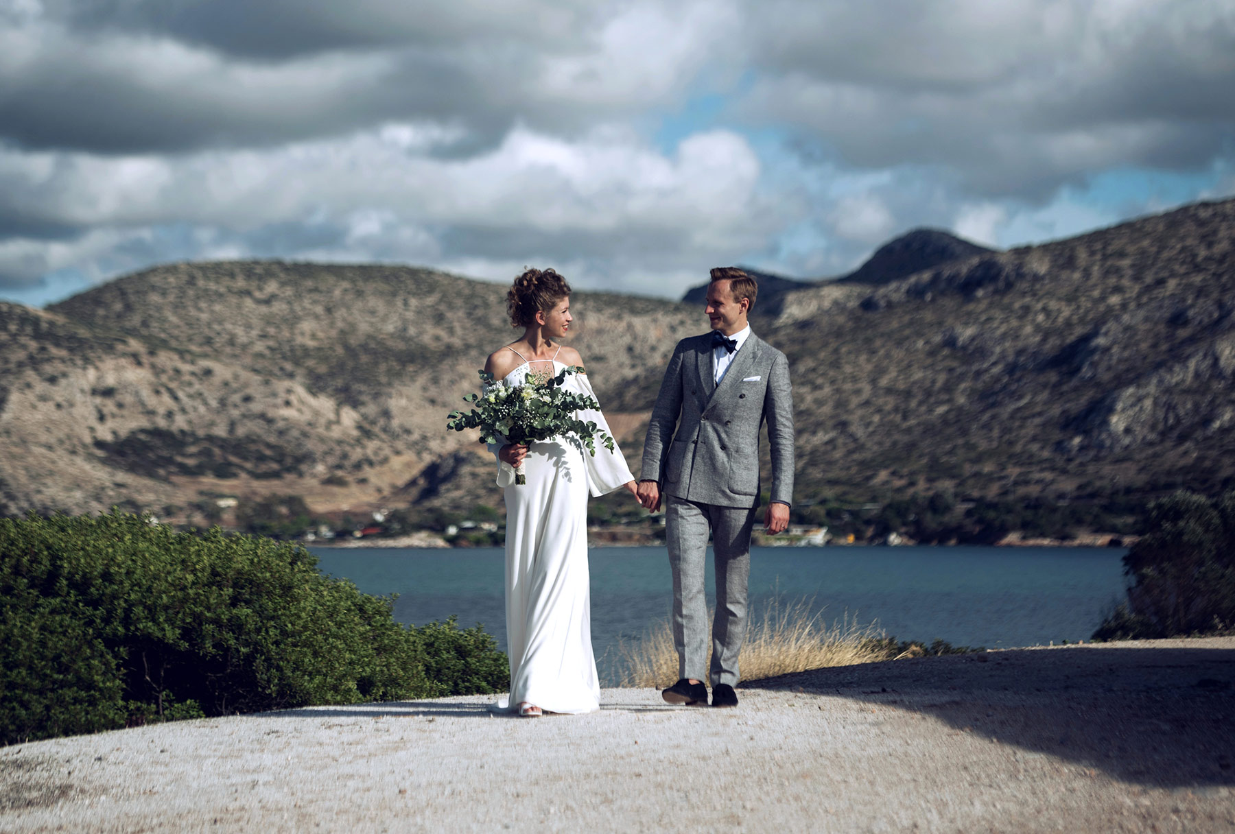 couple photos after ceremony in Athens Riviera