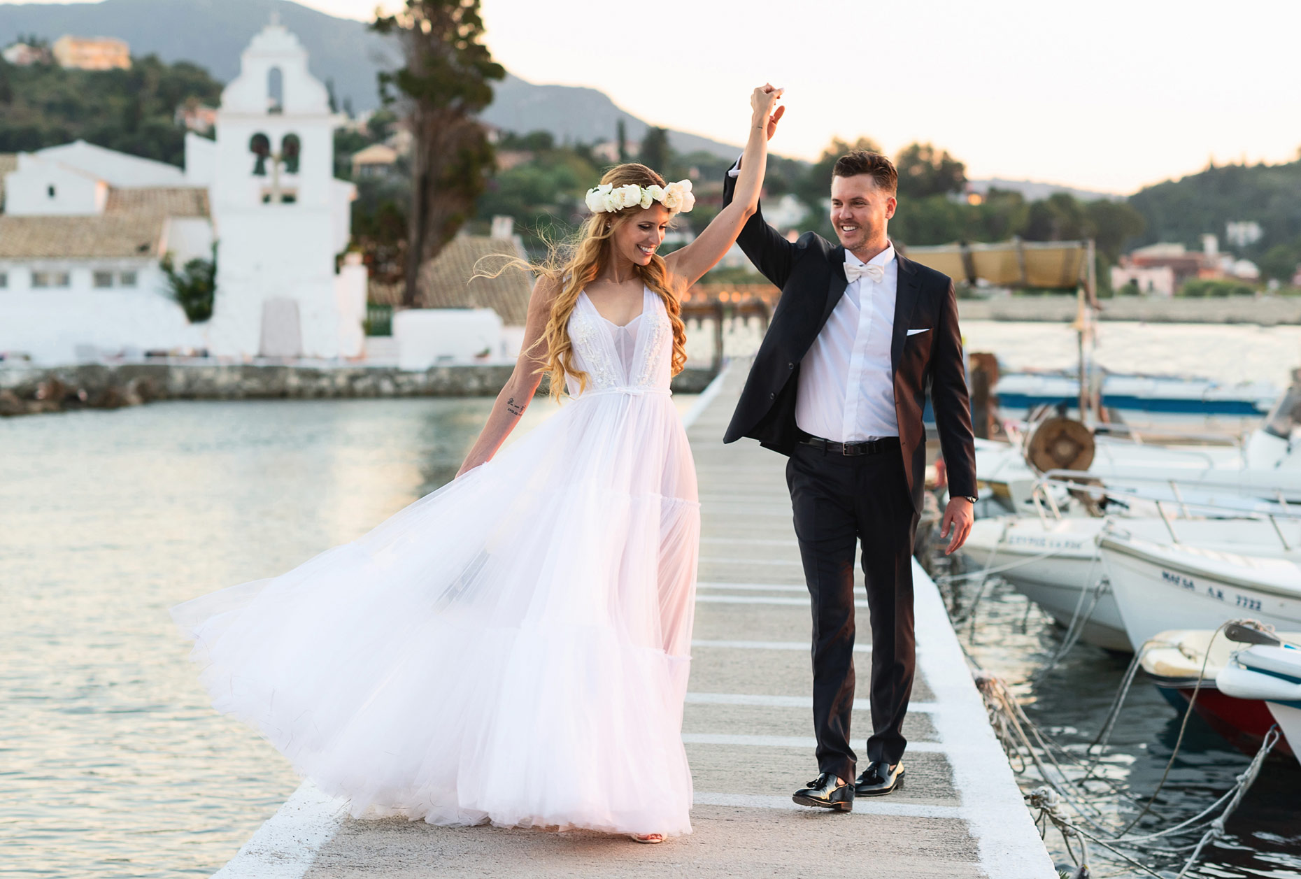 wedding couple shoot on Pontikonsi Corfu